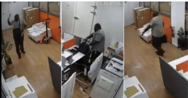 VIDEO: Thief Boldly Walks Into A Shop Introduce Himself As Stuff And Parked All Laptops
